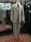 4 button suit beige stripe