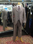 4 button suit brown plaid