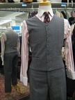 4 button suit grey check vest