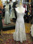 1930's gown white with feather trim