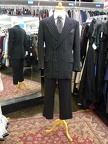 Gangster Suit black with grey pinstripe
