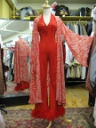 70's jumpsuit red with striped coat