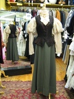 Late Victorian brown vest green skirt