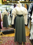 Late Victorian cream blouse & green skirt