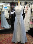 Late Victorian dress pale blue & silver