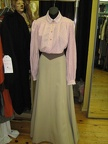 Late Victorian pink print blouse beige skirt