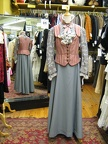 Late Victorian pink vest & grey skirt