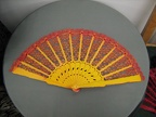 Fan yellow & red lace