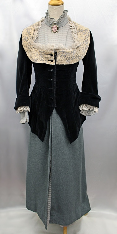 Victorian Black jacket with Lace Trim - Full.JPG