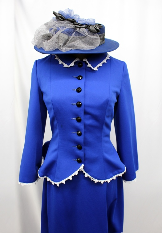Turn of the Century Blue Dress - Close-up with Hat.jpg