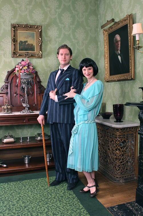 1920s Daywear Couple - Pinstripe Suit & Teal Dress.jpg