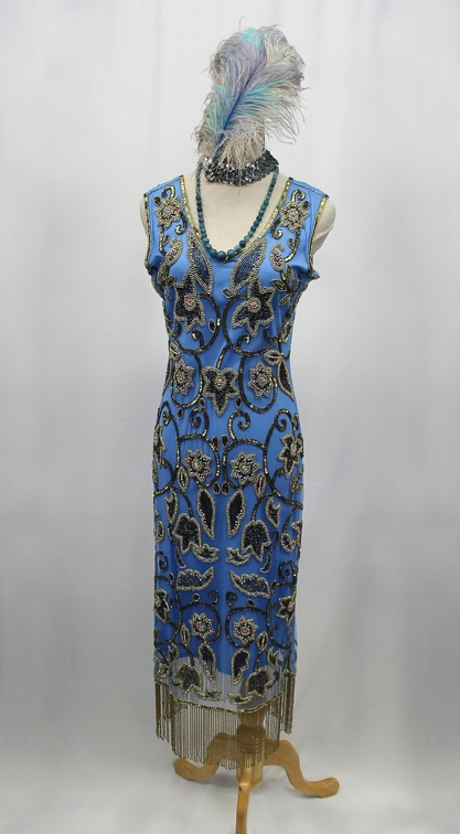 1920's Ladies Beaded Gown BlueGold.JPG