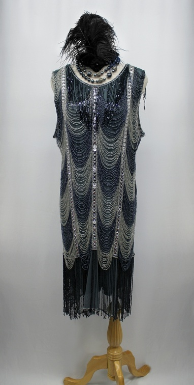 1920's Ladies Beaded Gown Grey.JPG