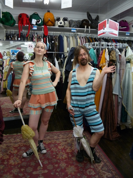 Bathing Costume couple blue & peach.JPG