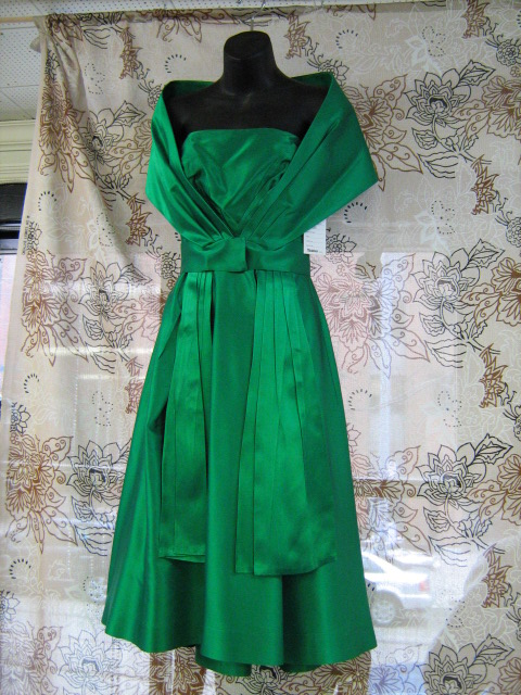 1960's dress Cocktail green with shawl.jpg