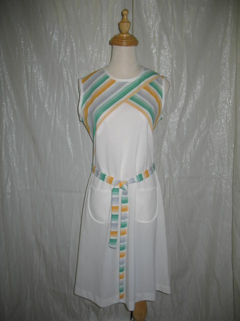 1960's Dress White & green.JPG