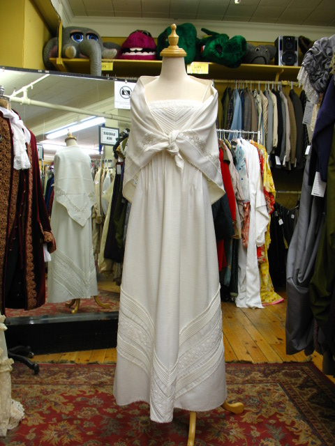 1960's Dress white with shawl.JPG
